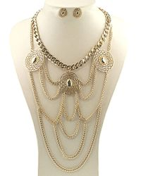 Gottex - Metallic 18k Plated Chain Drapped Necklace & Drop Earrings Set - Lyst