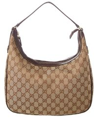 48d800873 Lyst - Gucci Brown Leather & Gg Supreme Canvas Hobo in Brown