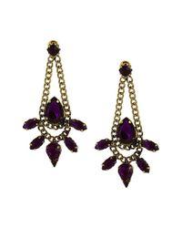 Sparkling Sage - Purple 14k Plated Resin Drop Earrings - Lyst