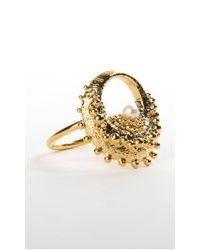 De La Forge - Metallic Echinoidea Gold Ring - Lyst