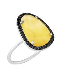 Christina Debs | Yellow Hard Candy Mango Agate And Black Diamond Ring | Lyst