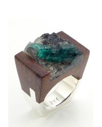 Pasionae - Green Emerald Wood And Sterling Ring - Lust - Lyst