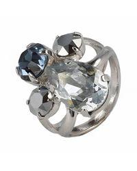 Otazu | Multicolor Rhodium-plated Ring With Blue Swarovski Crystals | Lyst