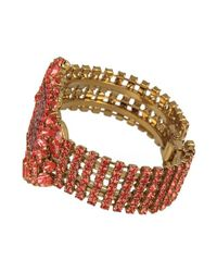 Otazu - Gray 14kt Gold-plated Bracelet With Crystal Red Swarovski Crystals - Lyst