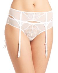Natori Foundations | White Chantilly Lace Garter Belt | Lyst