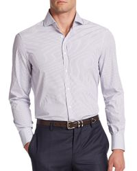 Brunello Cucinelli - Blue Ministriped Cotton Button-down Shirt for Men - Lyst