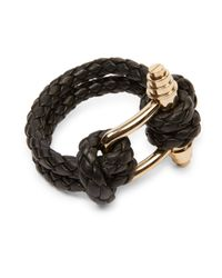 Givenchy - Black Obsedia Braided Leather Bracelet - Lyst