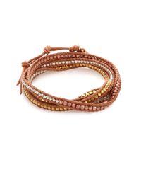 Chan Luu - Multicolor Tri-tone Beaded Leather Multi-row Wrap Bracelet - Lyst