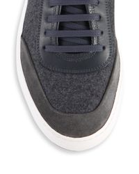 Ferragamo - Gray Glory Mix Media Low Top Leather & Wool Sneaker for Men - Lyst