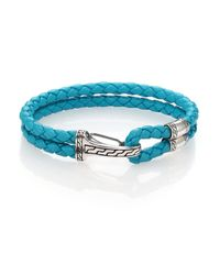 John Hardy | Blue Classic Chain Silver Hook Station Leather Bracelet | Lyst
