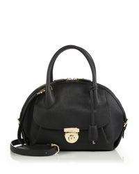 Ferragamo | Black Fiamma Medium Pebbled Leather Satchel | Lyst