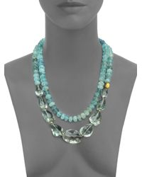 Lena Skadegard - Blue Onda Green Amethyst, Aquamarine & 18k Yellow Gold Long Pebble Necklace - Lyst