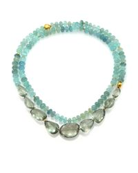 Lena Skadegard | Blue Onda Green Amethyst, Aquamarine & 18k Yellow Gold Long Pebble Necklace | Lyst