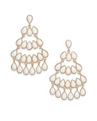 Kenneth Jay Lane | Metallic Cabochon Chandelier Earrings | Lyst
