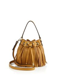 MILLY | Brown Essex Fringe Small Drawstring Bag | Lyst