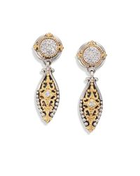 Konstantino | Metallic Asteri Diamond, 18k Yellow Gold & Sterling Silver Filigree Marquis Drop Earrings | Lyst
