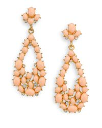 Kenneth Jay Lane - Metallic Cabochon Cluster Teardrop Earrings - Lyst