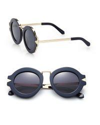 Karen Walker | Blue Maze 47mm Round Sunglasses | Lyst