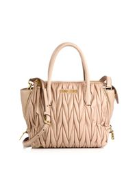 Miu Miu | Natural Matelasse Small Zip Tote | Lyst