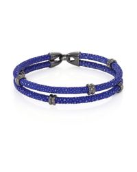 Stinghd | Blue Blackened Silver & Stingray Wrap Bracelet for Men | Lyst
