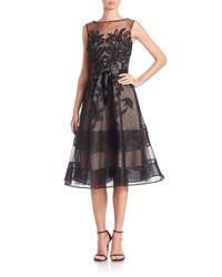 Teri Jon | Black Lace Illusion Sleeveless Dress | Lyst