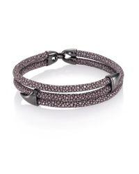 Stinghd | Blackened Silver & Stingray Wrap Shark Fin Bracelet for Men | Lyst
