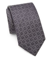 Saks Fifth Avenue - Gray Circle & Square Silk/cotton Tie for Men - Lyst
