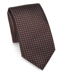 Saks Fifth Avenue | Brown Polka Dot Silk Tie for Men | Lyst