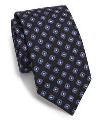 Saks Fifth Avenue | Blue Diamond Print Silk & Wool Tie for Men | Lyst