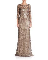 Tadashi Shoji   Metallic Sequin Lace Gown   Lyst