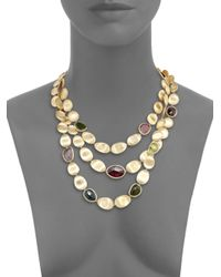 Marco Bicego - Metallic Lunaria Multicolor Tourmaline & 18k Yellow Gold Three-strand Bib Necklace - Lyst