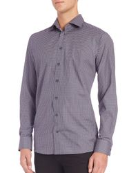 Eton of Sweden | Purple Contemporary-fit Diamond-print Sportshirt for Men | Lyst