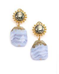 Nest | Metallic Blue Lace Agate Drop Earrings | Lyst