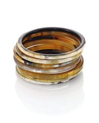 Nest - Brown Natural Horn Seven-bangle Bracelet Set - Lyst