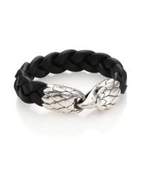 John Hardy | Black Classic Chain Woven Leather Eagle Bracelet for Men | Lyst