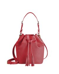 Gigi New York | Red Jenn Python-embossed Leather Bucket Bag | Lyst