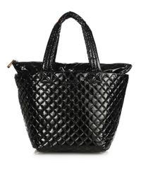 MZ Wallace   Black Metro Medium Lacquered Quilted Nylon Tote   Lyst