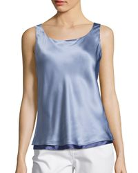 Lafayette 148 New York | Blue Luxe Silk Charmeuse Reversible Bias Tank Top | Lyst