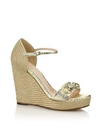 Gucci | Carolina Metallic Leather Corded Wedge Sandals | Lyst