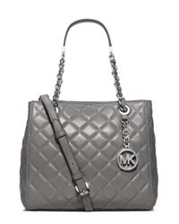 MICHAEL Michael Kors | Gray Susannah Small Quilted Leather Tote | Lyst