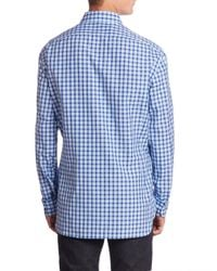 Kiton - Blue Gingham Plaid Casual Shirt for Men - Lyst