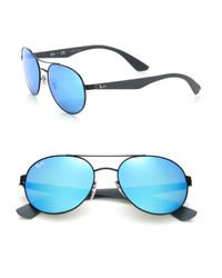 Ray-Ban - Black Phantos 55mm Mirrored Metal Injected Aviator Sunglasses for Men - Lyst