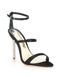 Sophia Webster | Black Rosalind Crystal-heel Satin Sandals | Lyst