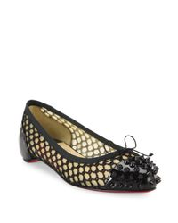 Christian Louboutin | Black Mix Spiked Patent Leather & Mesh Flats | Lyst