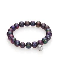 Sydney Evan | Diamond, 9mm Black Baroque Pearl & 14k White Gold Skull Charm Bracelet | Lyst
