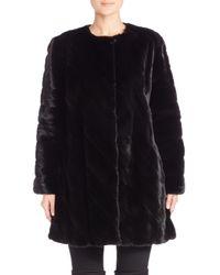 Saks Fifth Avenue - Black Collarless Mink Fur Diagonal Coat - Lyst