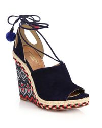 Aquazzura - Orange Palm Springs Wedge Sandals - Lyst