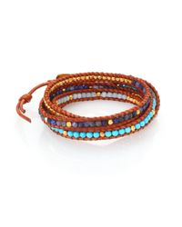 Chan Luu | Multicolor Turquoise, Sodalite, Amazonite & Leather Multi-row Beaded Wrap Bracelet | Lyst