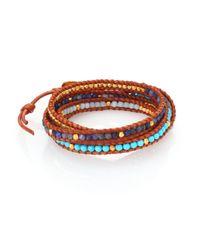 Chan Luu | Brown Turquoise, Sodalite, Amazonite & Leather Multi-row Beaded Wrap Bracelet | Lyst