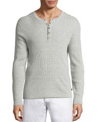 Michael Kors   Gray Linen Long Sleeved Henley for Men   Lyst
